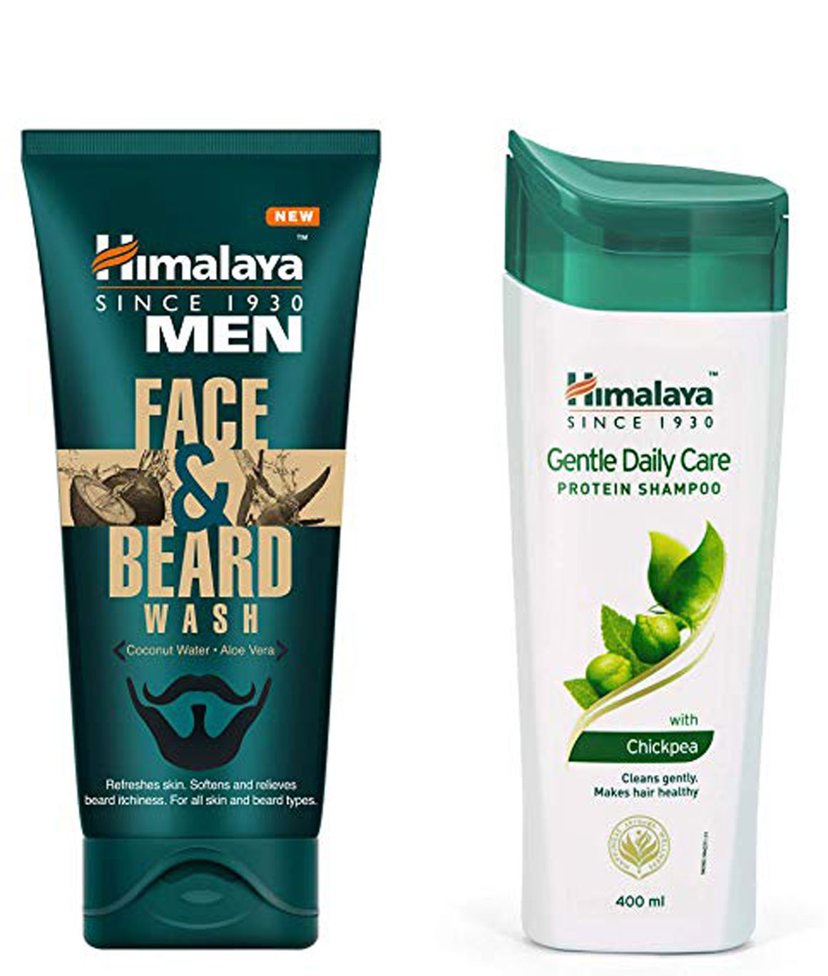 Himalaya Men Face And Beard Wash 80ml and Himalaya Herbals Protein Shampoo Gentle Daily Care 400ml