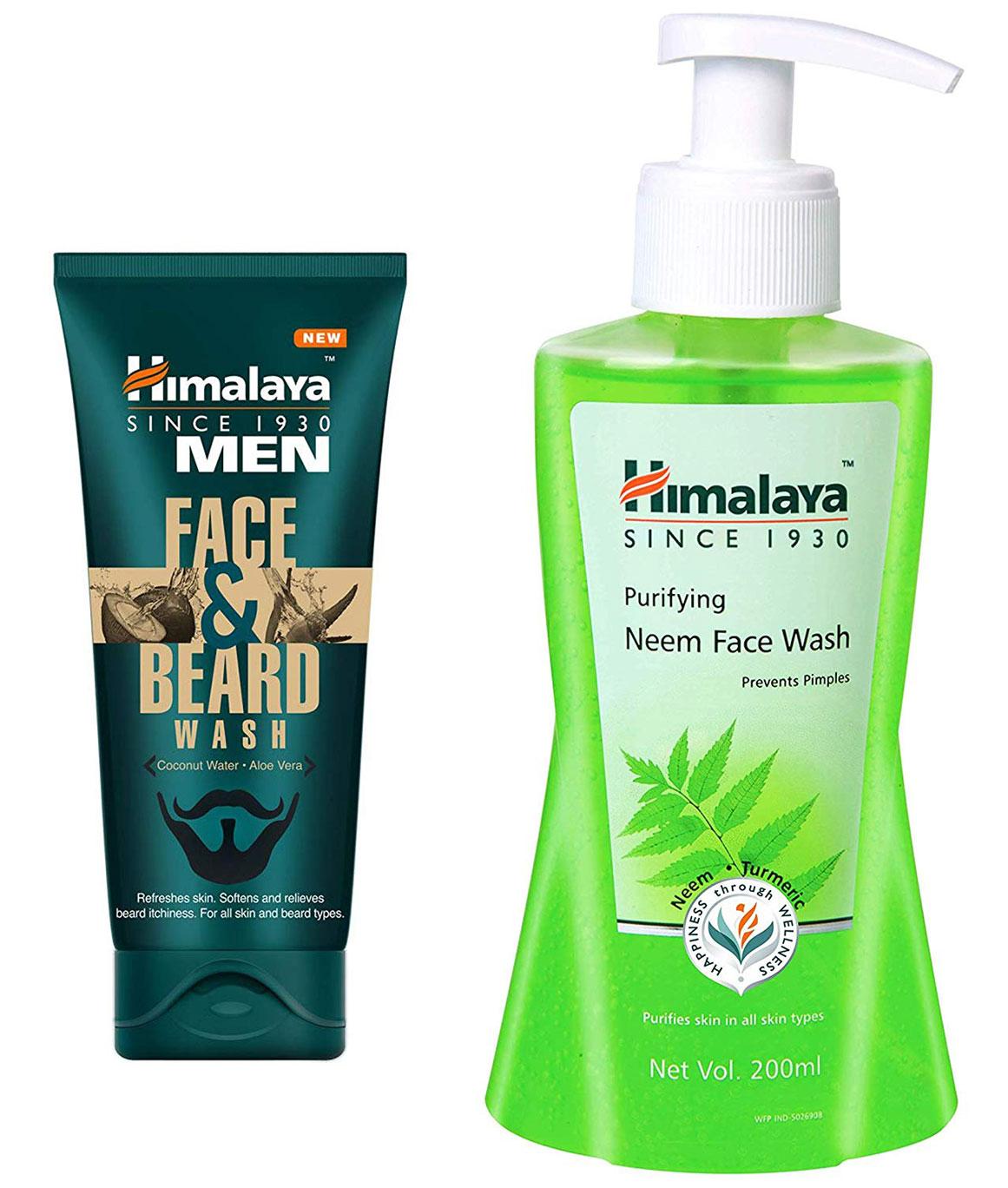 Himalaya Men Face And Beard Wash 80ml and Himalaya Herbals Purifying Neem Face Wash 200ml