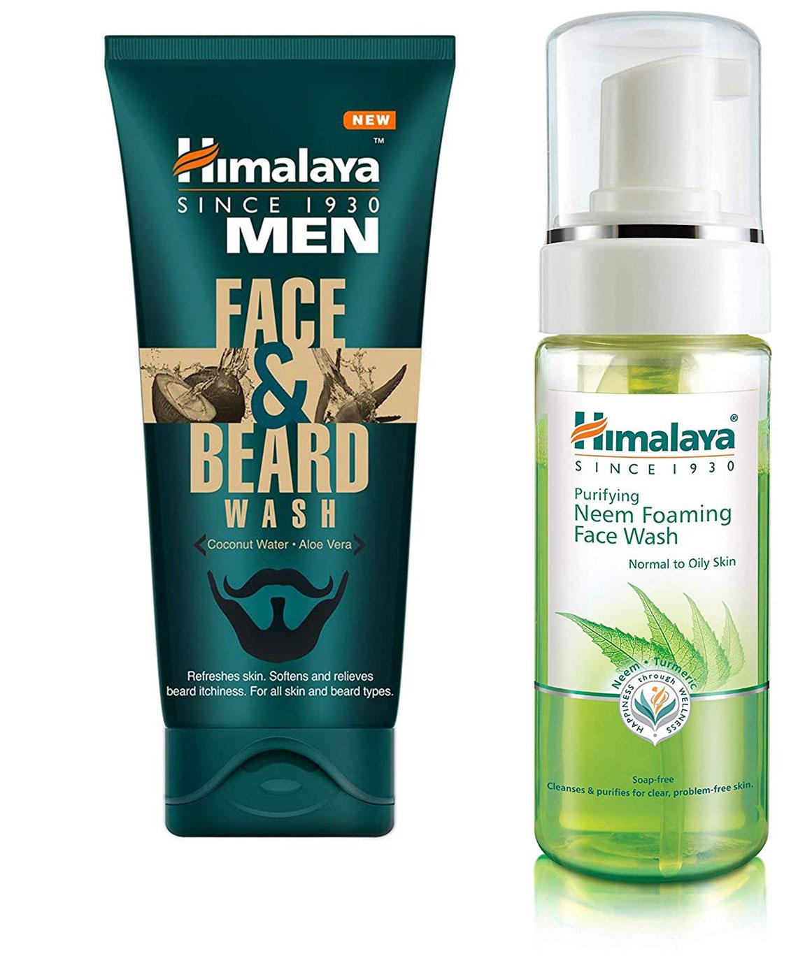 Himalaya Men Face And Beard Wash 80ml and Himalaya Herbals Purifying Neem Foaming Face Wash 150ml