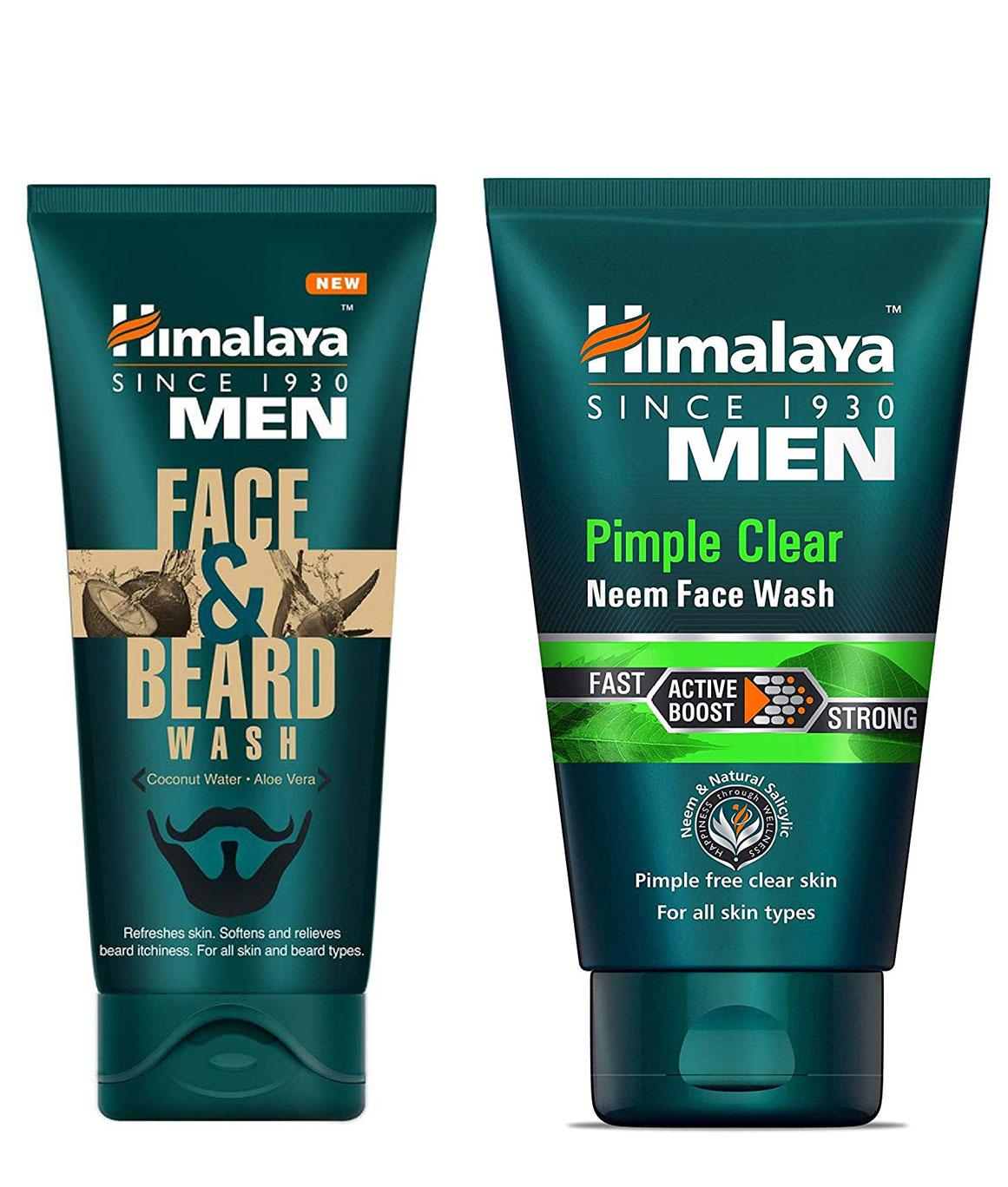 Himalaya Men Face And Beard Wash 80ml and Himalaya Herbls Men Pimple Clear Neem Face Wash 100ml