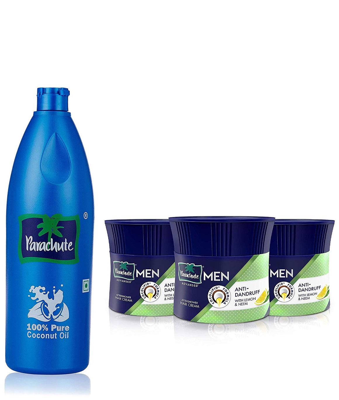Parachute Coconut Oil Bottle - 600 ml & Advansed Men Hair Cream, Anti-Dandruff, 100 gm (Pack of 3) Combo
