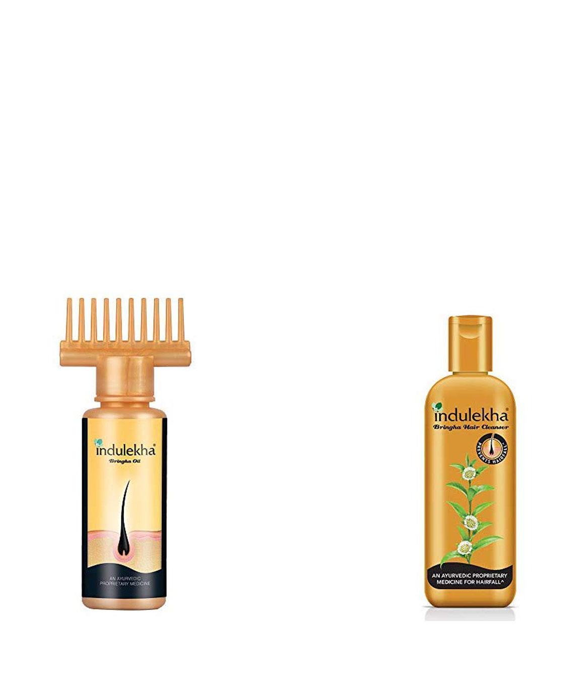 Indulekha Bhringa Hair Oil, 50ml & Indulekha Bringha Hair Anti-Hair Fall Shampoo, 100ml