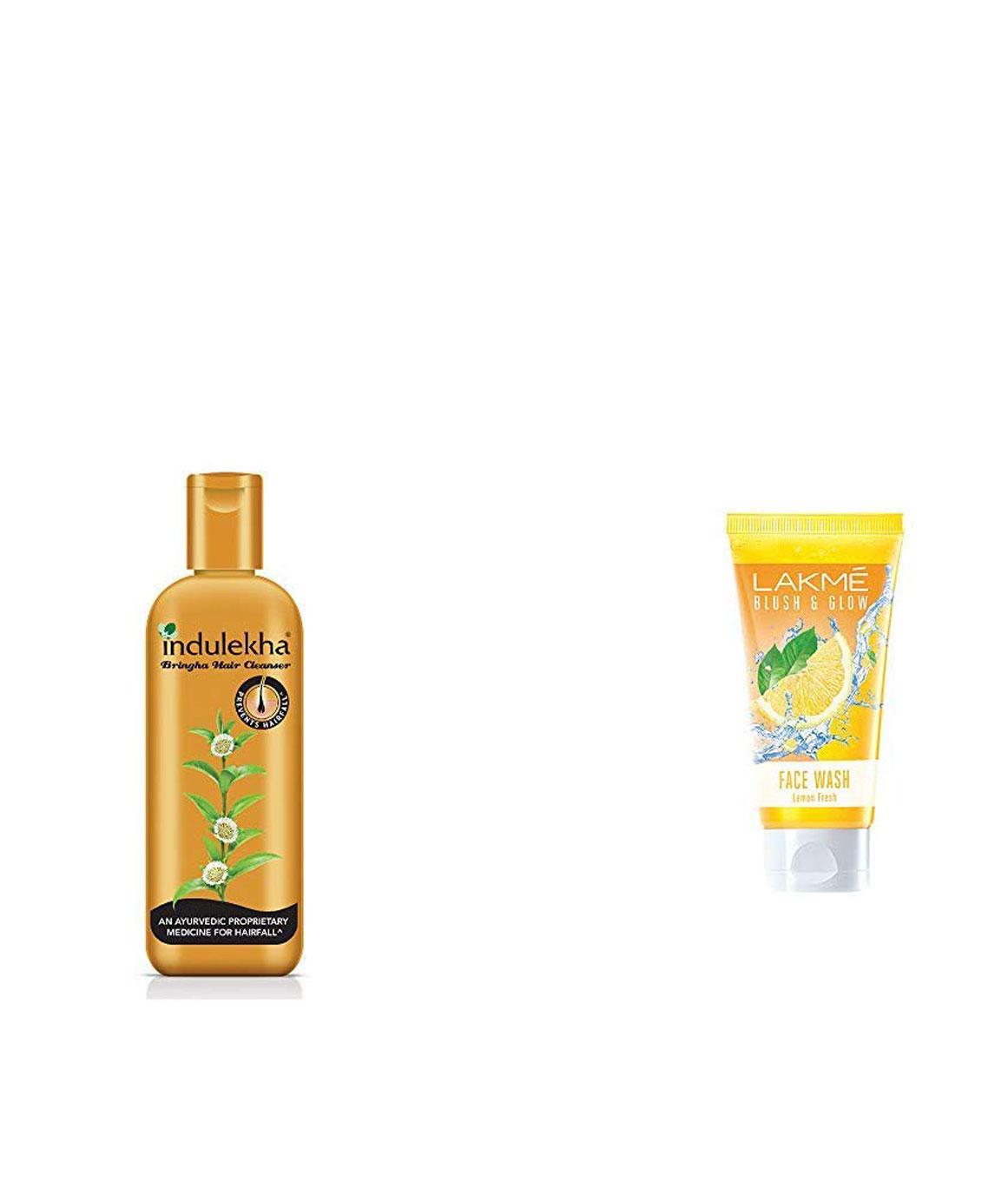 Indulekha Bringha Anti Hair Fall Shampoo, 200ml & Lakmé Blush and Glow Lemon Fresh Facewash, 100gm