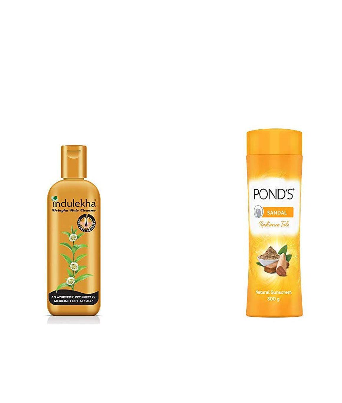 Indulekha Bringha Anti Hair Fall Shampoo, 200ml & PONDeS Sandal Radiance Talcum Powder, Natural Sunscreen, 300 gm