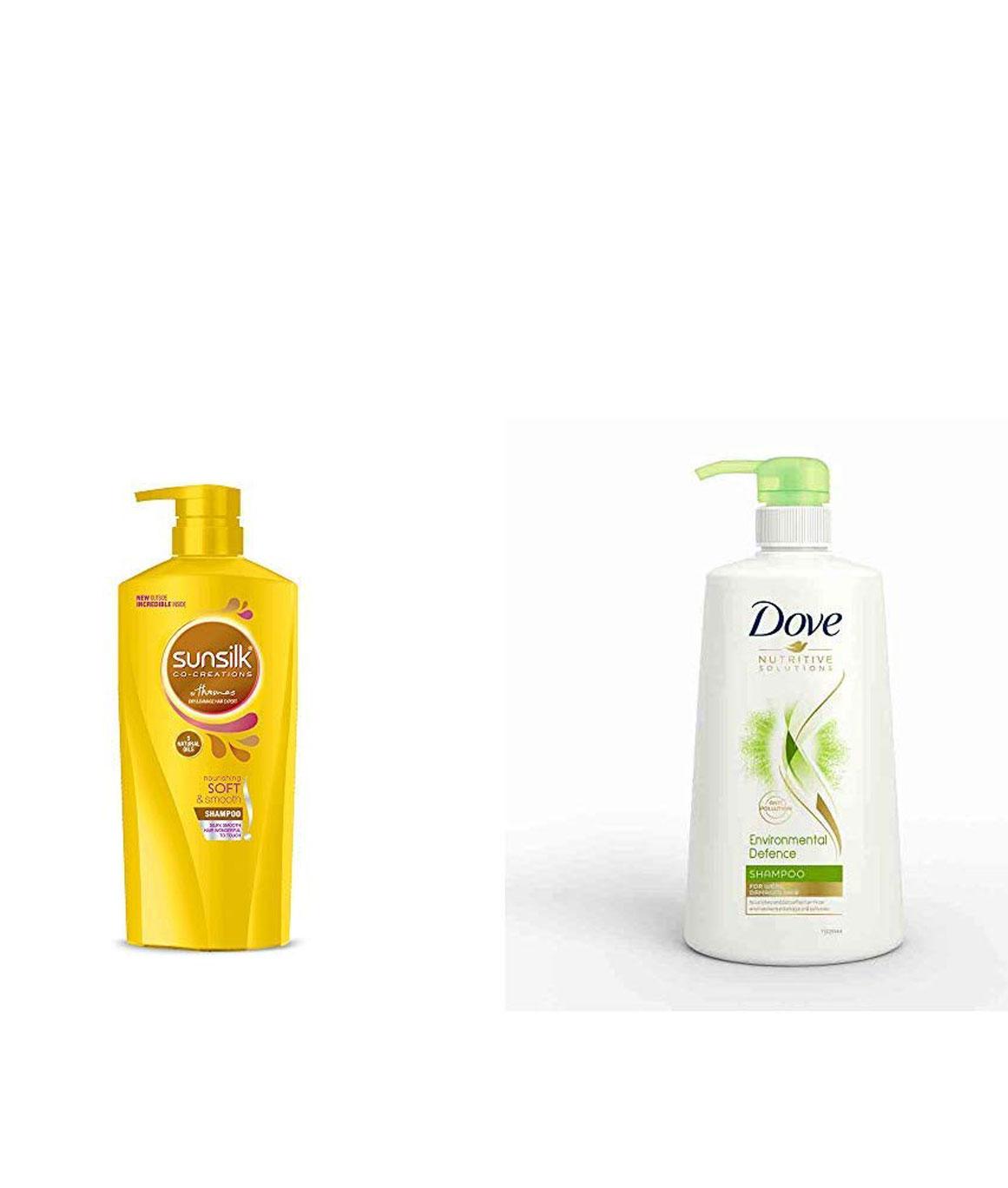 Sunsilk Nourishing Soft & Smooth Shampoo 650ml & Dove Environmental Defence Shampoo, 650ml