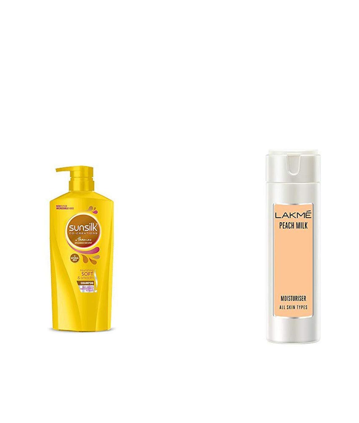 Sunsilk Nourishing Soft & Smooth Shampoo 650ml & Lakme Peach Milk Moisturizer Body Lotion 200 ml