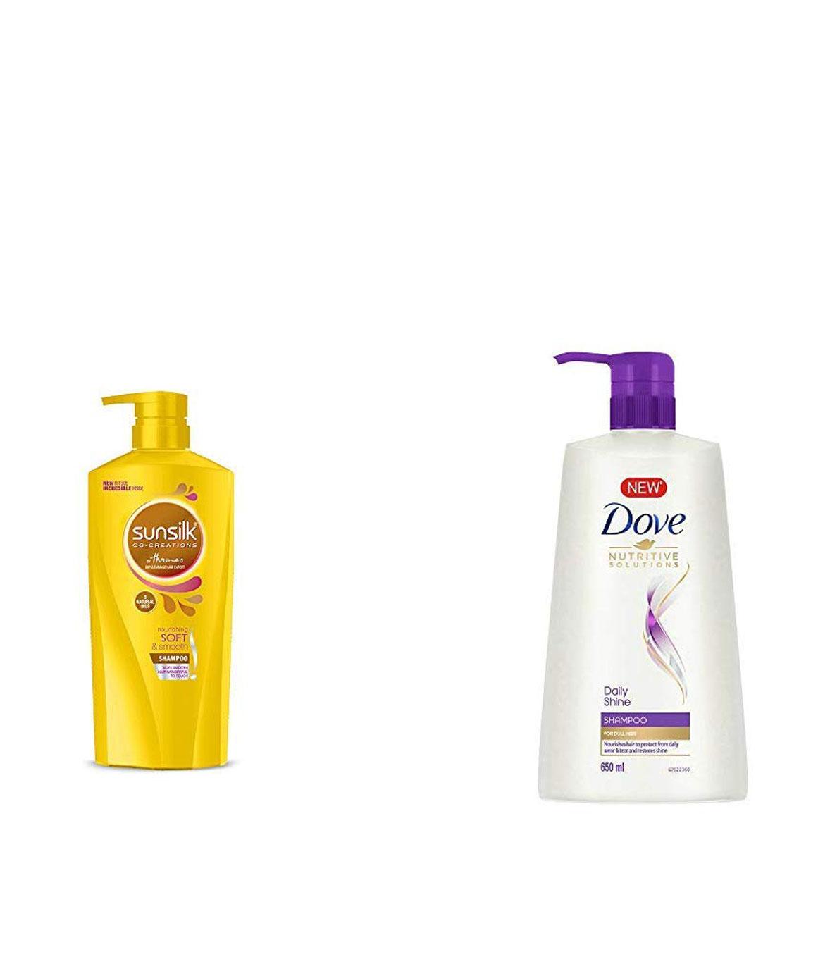 Sunsilk Nourishing Soft & Smooth Shampoo 650ml & Dove Daily Shine Shampoo, 650ml