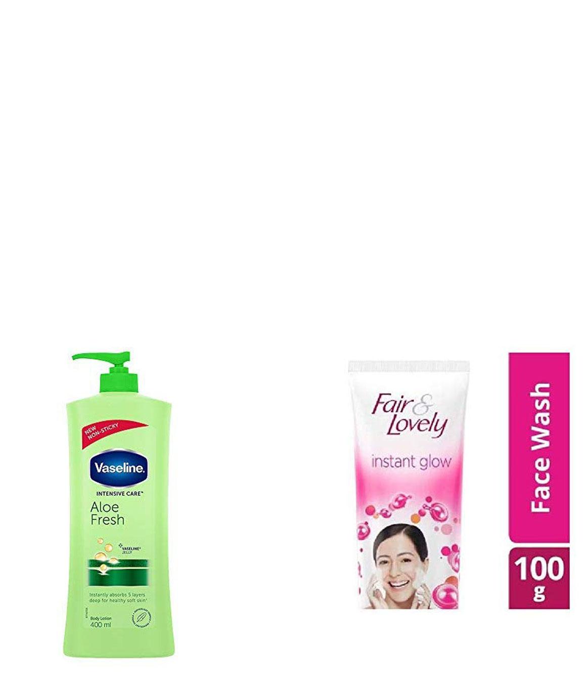 Vaseline Intensive Care Aloe Fresh Body Lotion, 400 ml & Fair & Lovely Fairness Face Wash, 100gm