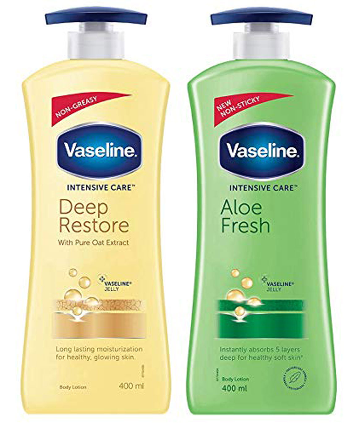Vaseline Intensive Care Deep Restore Body Lotion, 400 ml & Vaseline Intensive Care Aloe Fresh Body Lotion, 400 ml