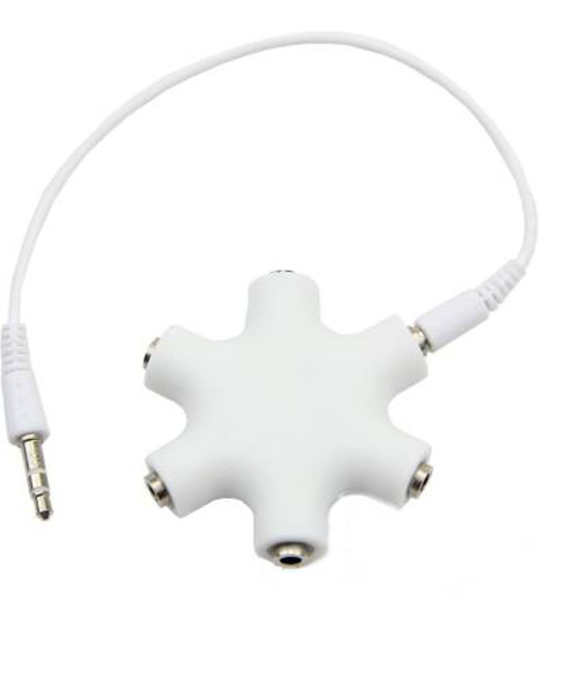 3.5MM STEREO AUDIO SPLITTER ADAPTER HEADSET HEADPHONE EARPHONE HUB WITH AUX CABLE HEADPHONE SPLITTER (COMPATIBLE WITH MOBILE, WHITE)