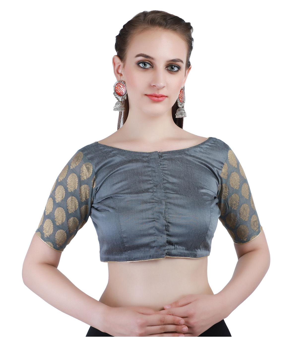 Banarasi Chanderi Silk Jacquard and Cotton Silk Front-Open Blouse in Grey