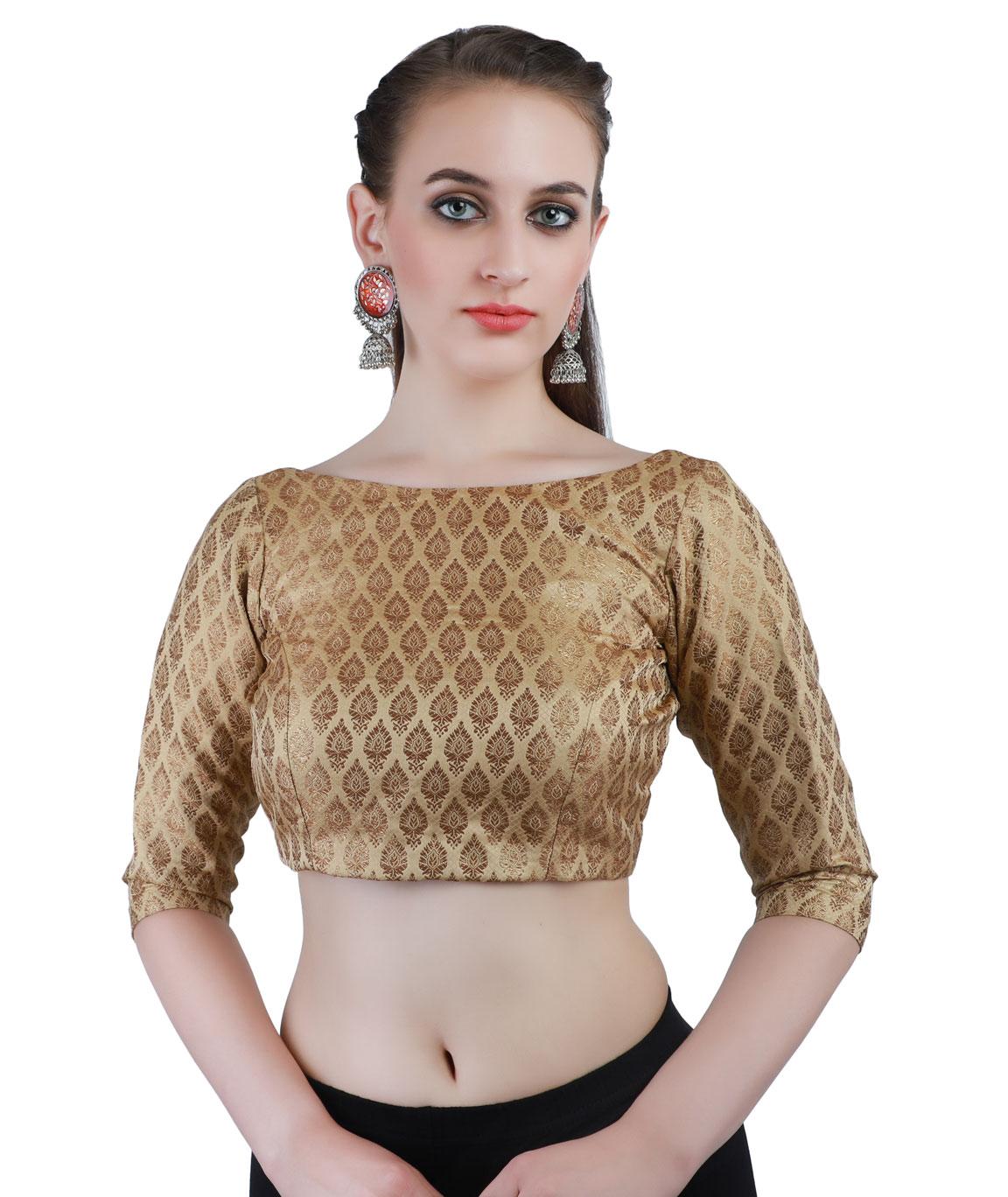 Banarasi Handloom Silk Jamawer Front-Open Blouse in Gold