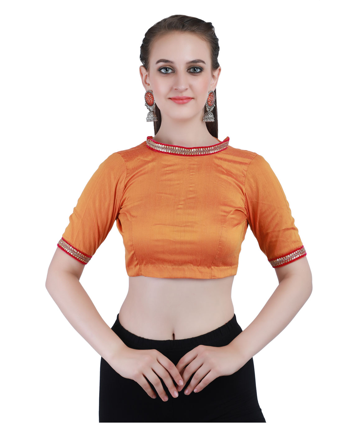 Mustard Cotton Silk Non-Padded Back Open Blouse in Band Collar