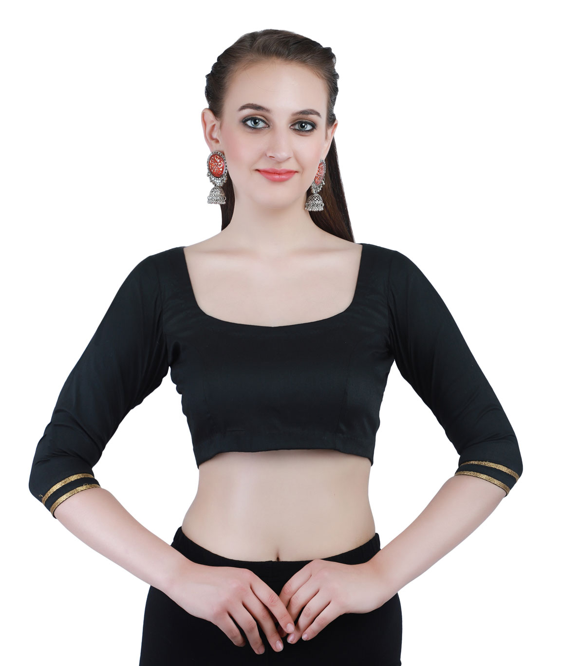 Black Cotton Silk Non-Padded Back Open Blouse in Round Neck