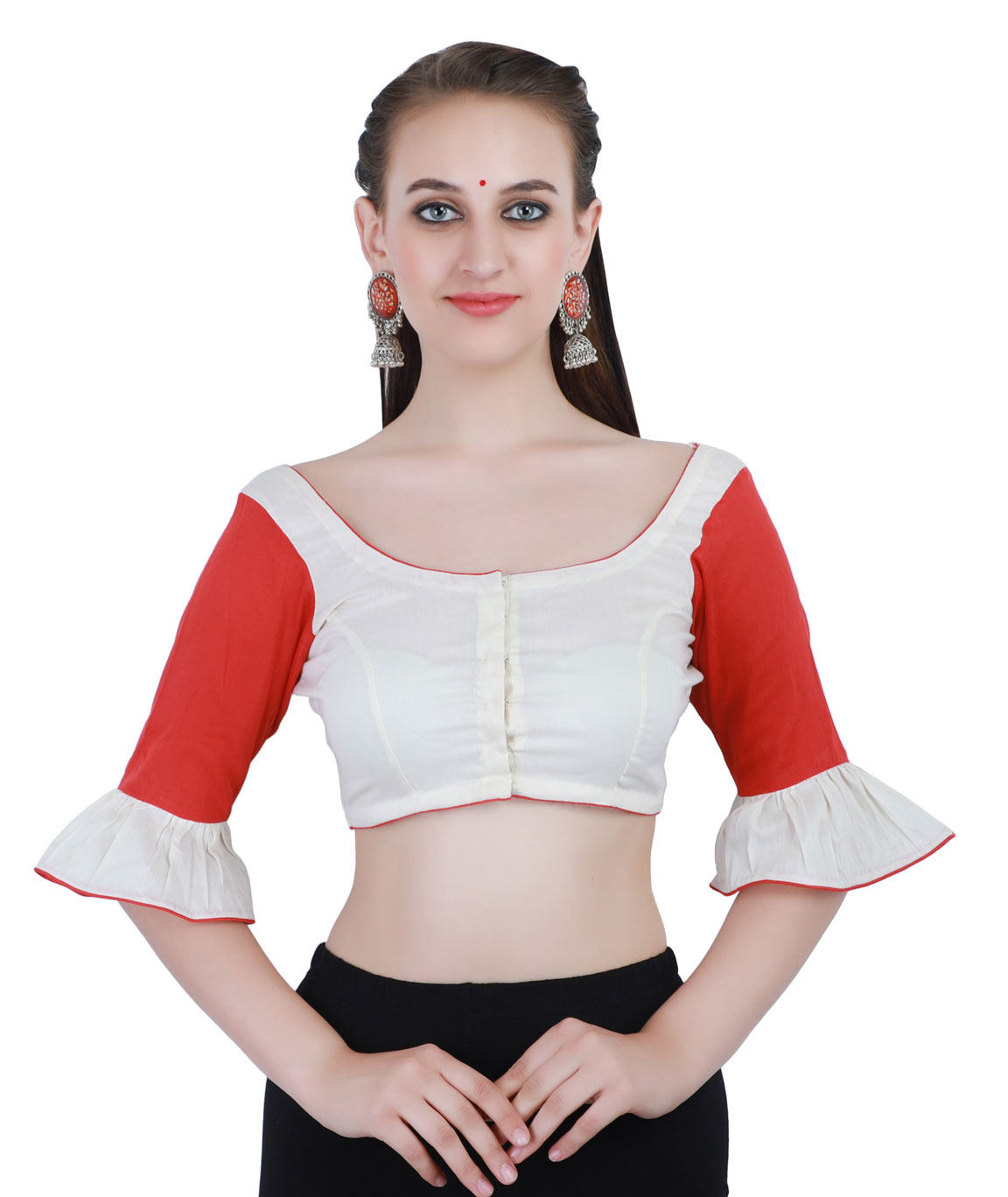 White and Red Cotton Silk Non-Padded Front-Open Blouse in Round Neck with Bell Sleeves