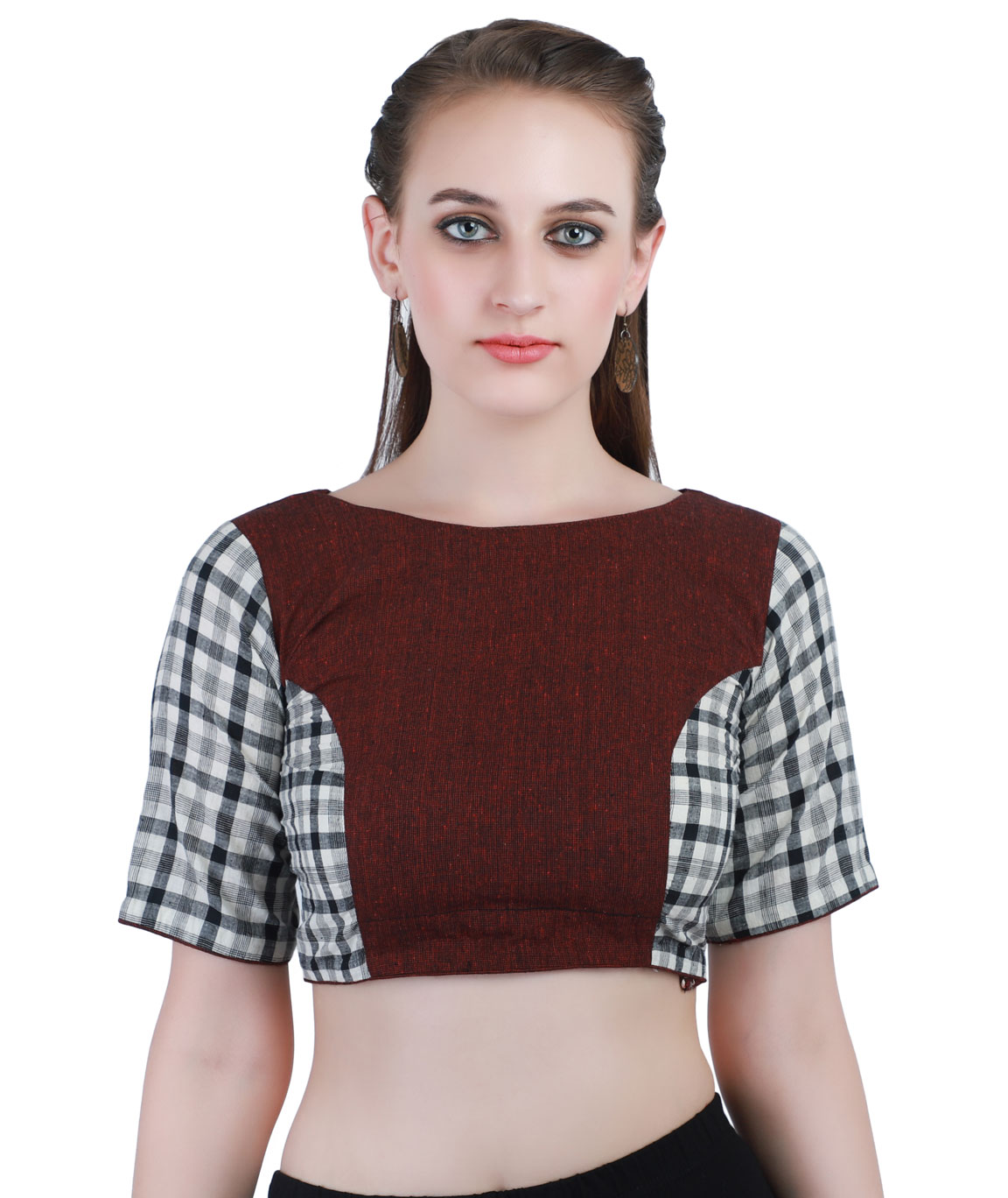 Handloom Pure Cotton khadi Checks Back-Open Blouse in Maroon,White and Black