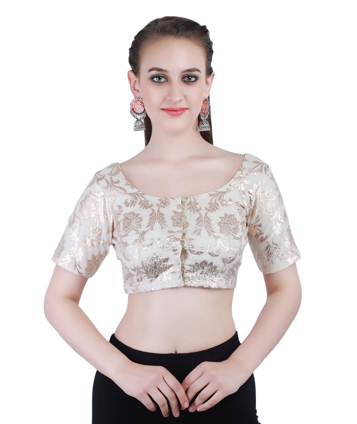 Banarasi Handloom Chanderi Silk Jacquard Round Neck Blouse In white With Hook Closure on Front