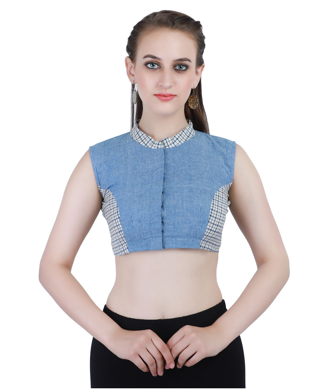 Handloom Pure Cotton khadi Checks Front-Open Blouse in Denim Blue