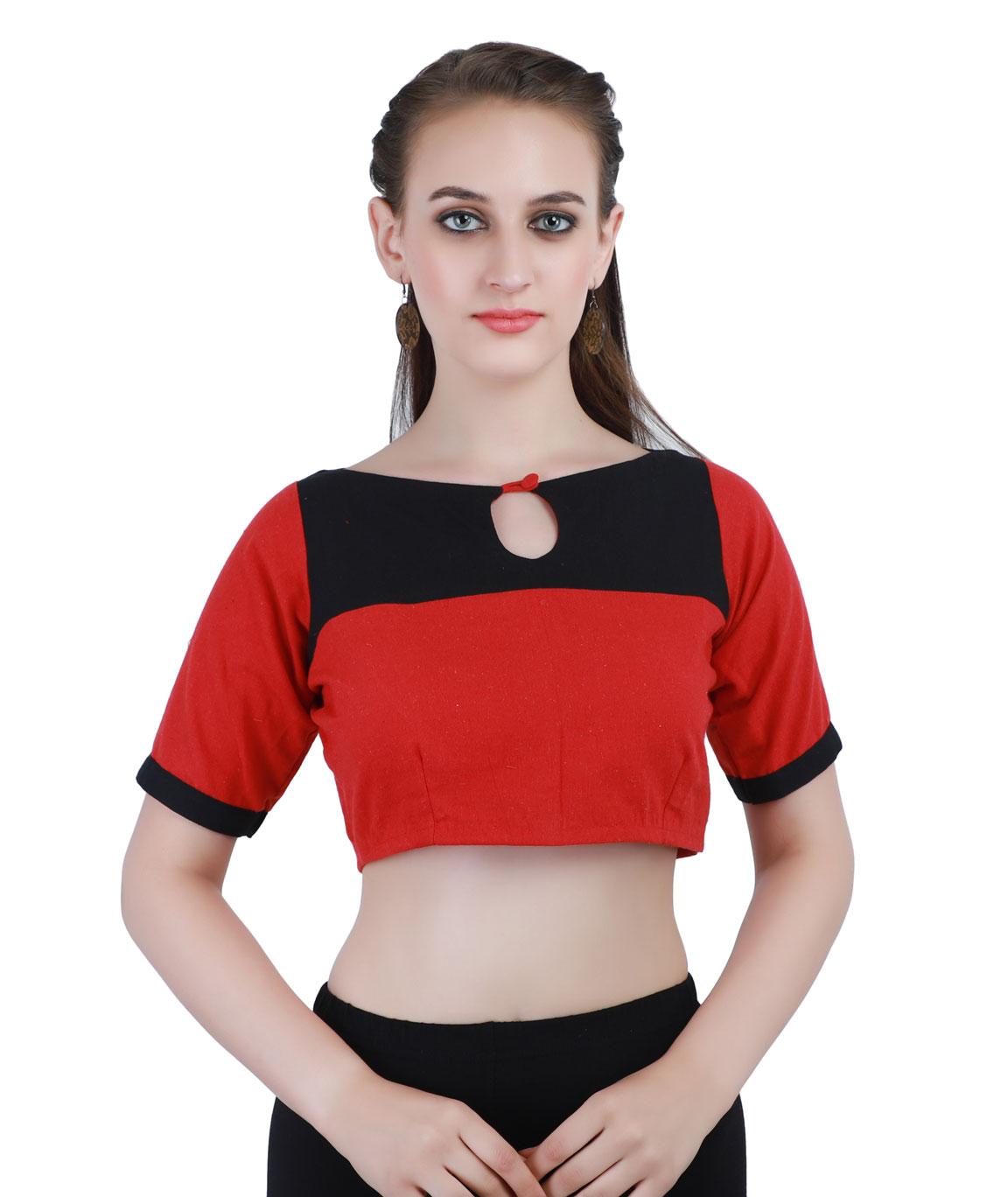 Handloom Pure Cotton Blouse Back-Open Blouse in Red and Black