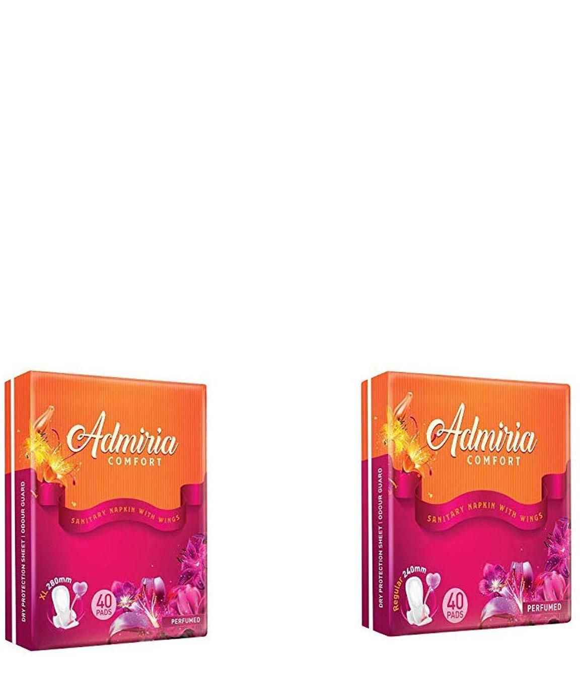 Admiria Comfort Sanitary Pad/Napkins - Extra Large (XL) (Pack of 40) & Admiria Comfort Sanitary Pad/Napkins - Regular (Pack of 40)