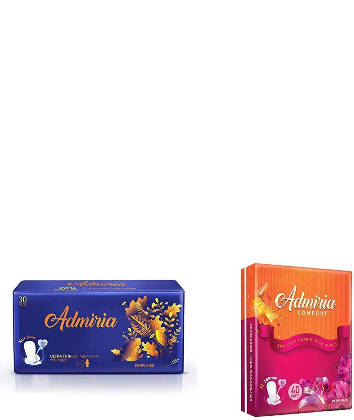 Admiria Ultra Thin Cloud Soft Sanitary Pad/Napkins - Extra Large (XL+) (Pack of 30) & Admiria Comfort Sanitary Pad/Napkins - Extra Large (XL) (Pack of 40)
