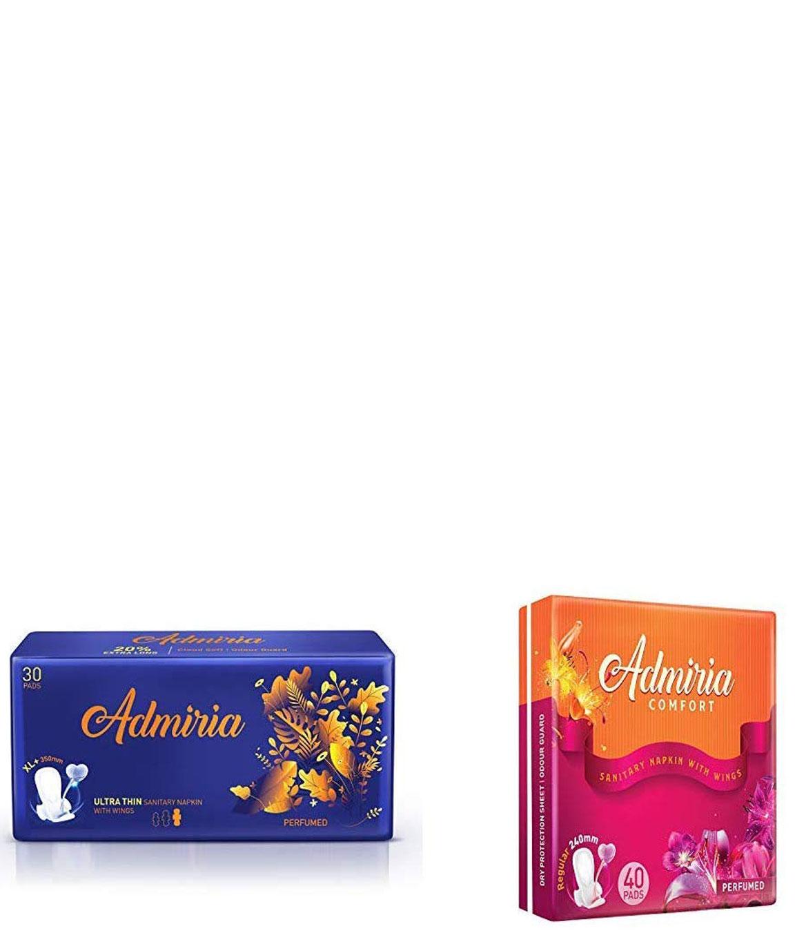 Admiria Ultra Thin Cloud Soft Sanitary Pad/Napkins - Extra Large (XL+) (Pack of 30) & Admiria Comfort Sanitary Pad/Napkins - Regular (Pack of 40)