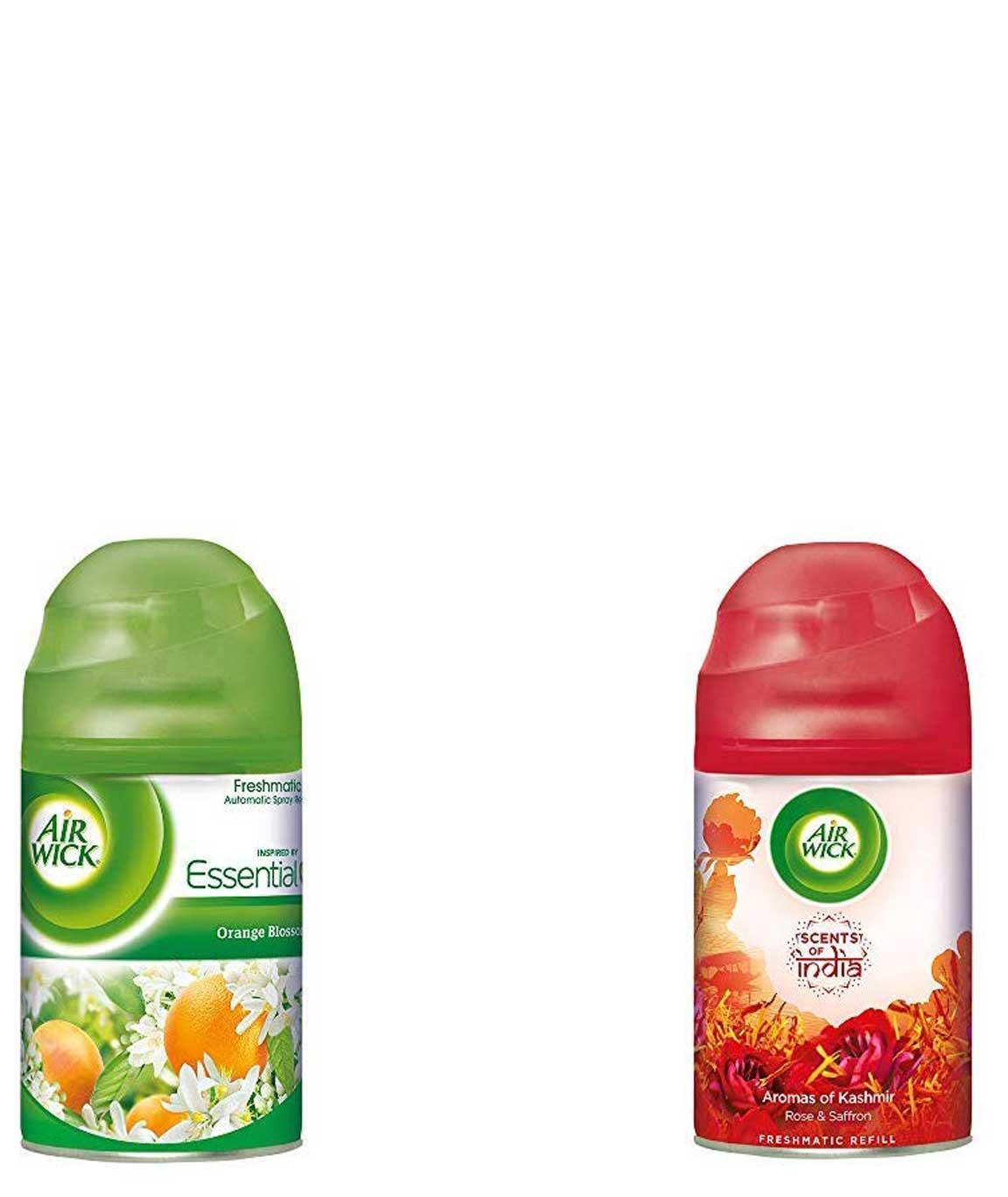 Airwick Freshmatic Refill - Orange Blossom - 250 ml & `Scents of India` Freshmatic Air Freshner Refill, Aromas of Kashmir - 250 ml Combo