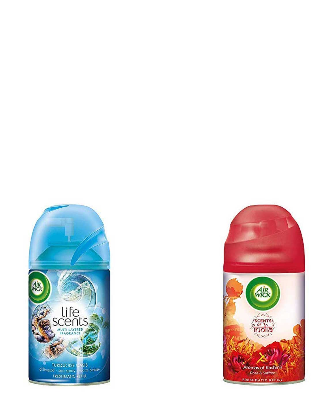 Airwick Freshmatic Refill Life Scents Turquoise Oasis - 250 ml & `Scents of India` Freshmatic Air Freshner Refill, Aromas of Kashmir - 250 ml Combo