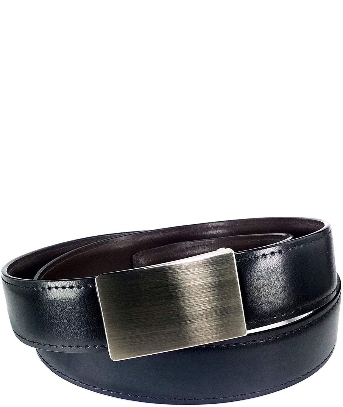 alfami Men`s Faux Leather Plain Buckle Belt (Black Free Size)