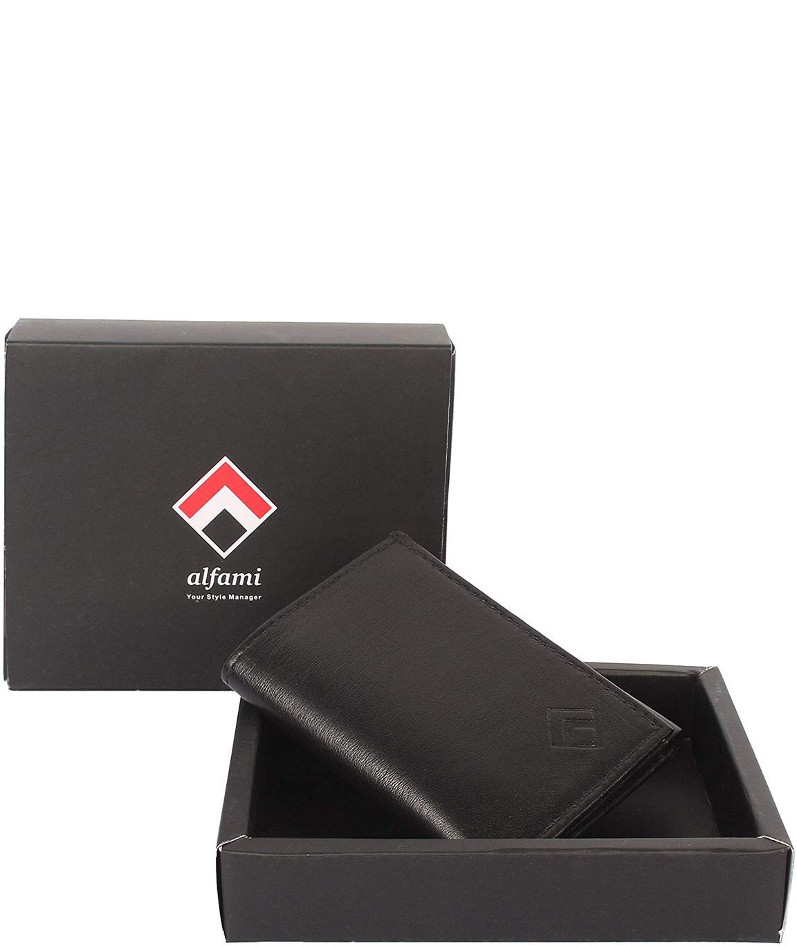 Alfami Men`s Genuine Leather Front Pocket Wallet | Tri-Fold | Black
