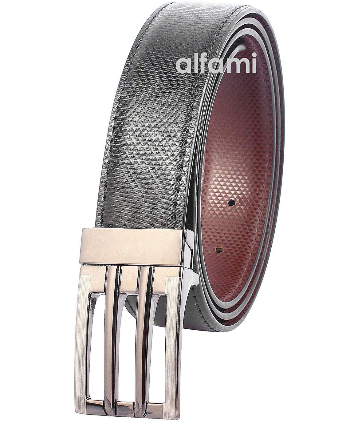 alfami Men`s PU Leather Hook Buckle Reversible Belt (Black/Brown Free Size Upto 42-inch Waist)