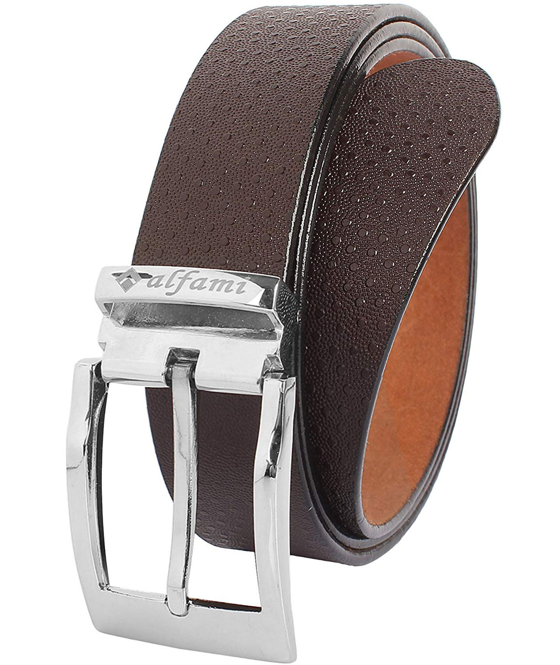 Alfami Mens Genuine Leather Belt, Brown Colour, All Sizes, Spotted Pattern