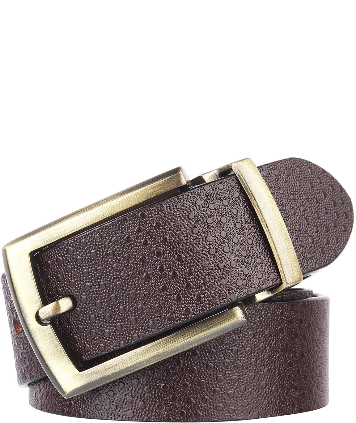 Alfami Mens Genuine Leather Belt Brown Colour Antique Golden Buckle All Sizes Spotted Pattern
