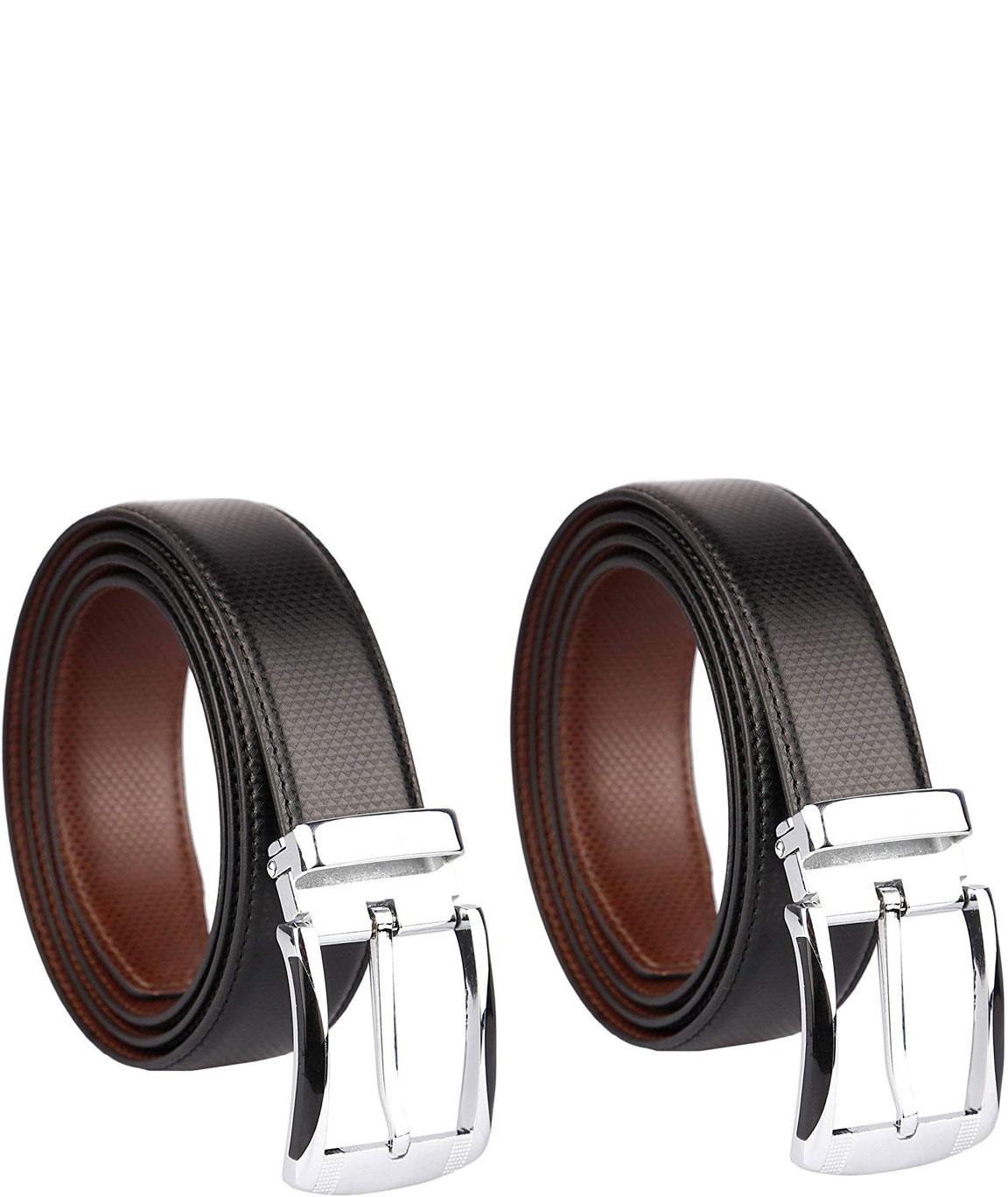 Alfami Mens Leather Reversible belts (Pack of 2) BlackBrown