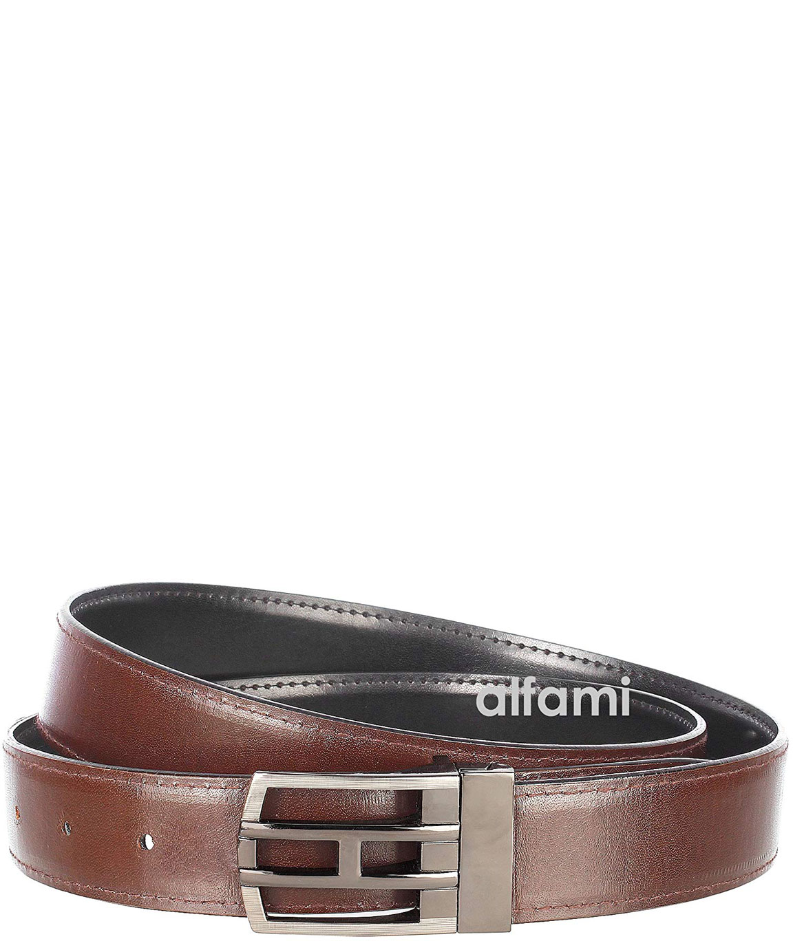 Alfami Mens PU Leather Belt Hook Buckle Smooth Texas Pattern Free size upto 42 inch waist (Pack of 1)