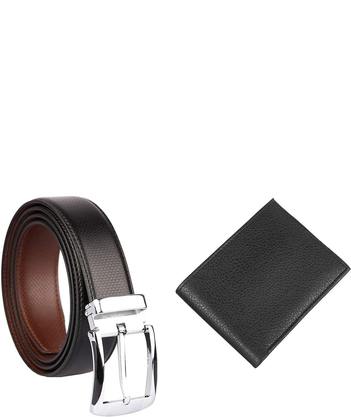 alfami Urban Black Men`s PU Leather Wallet and Belt Combo