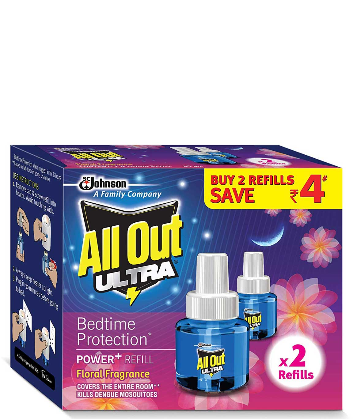 All Out Ultra Power+ Floral Fragrance (2 refills pack)