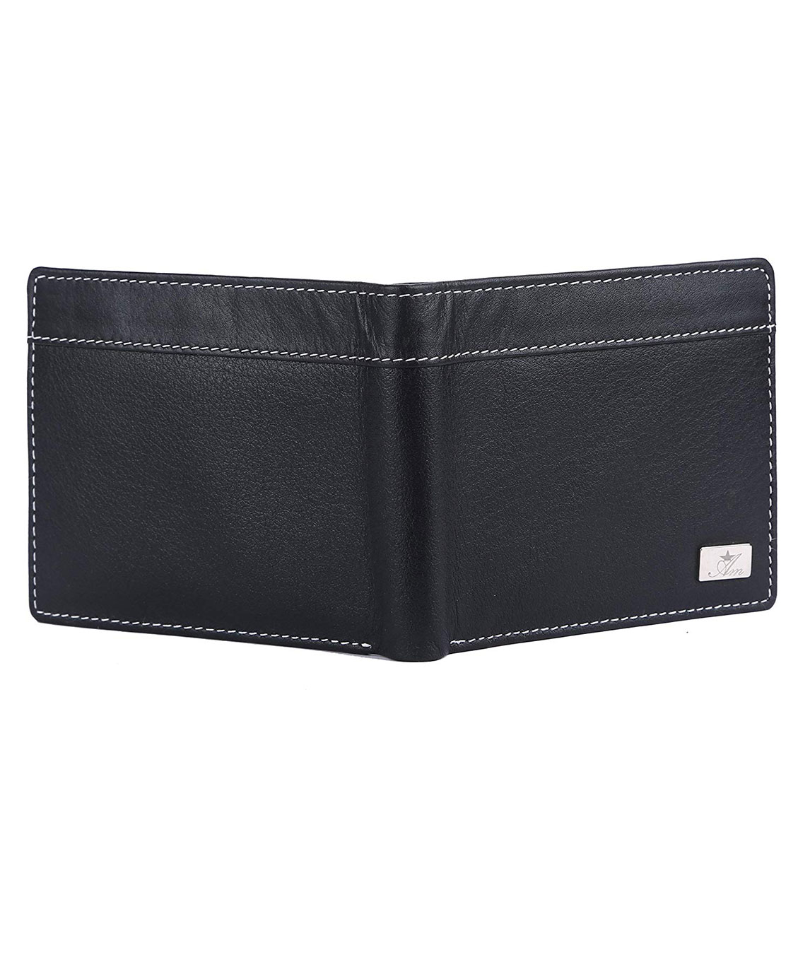 AM LEATHER Bi Fold Genuine Leather Wallet Black Premium Quality/Hand Crafted Purse/Wallet for Men & Boys