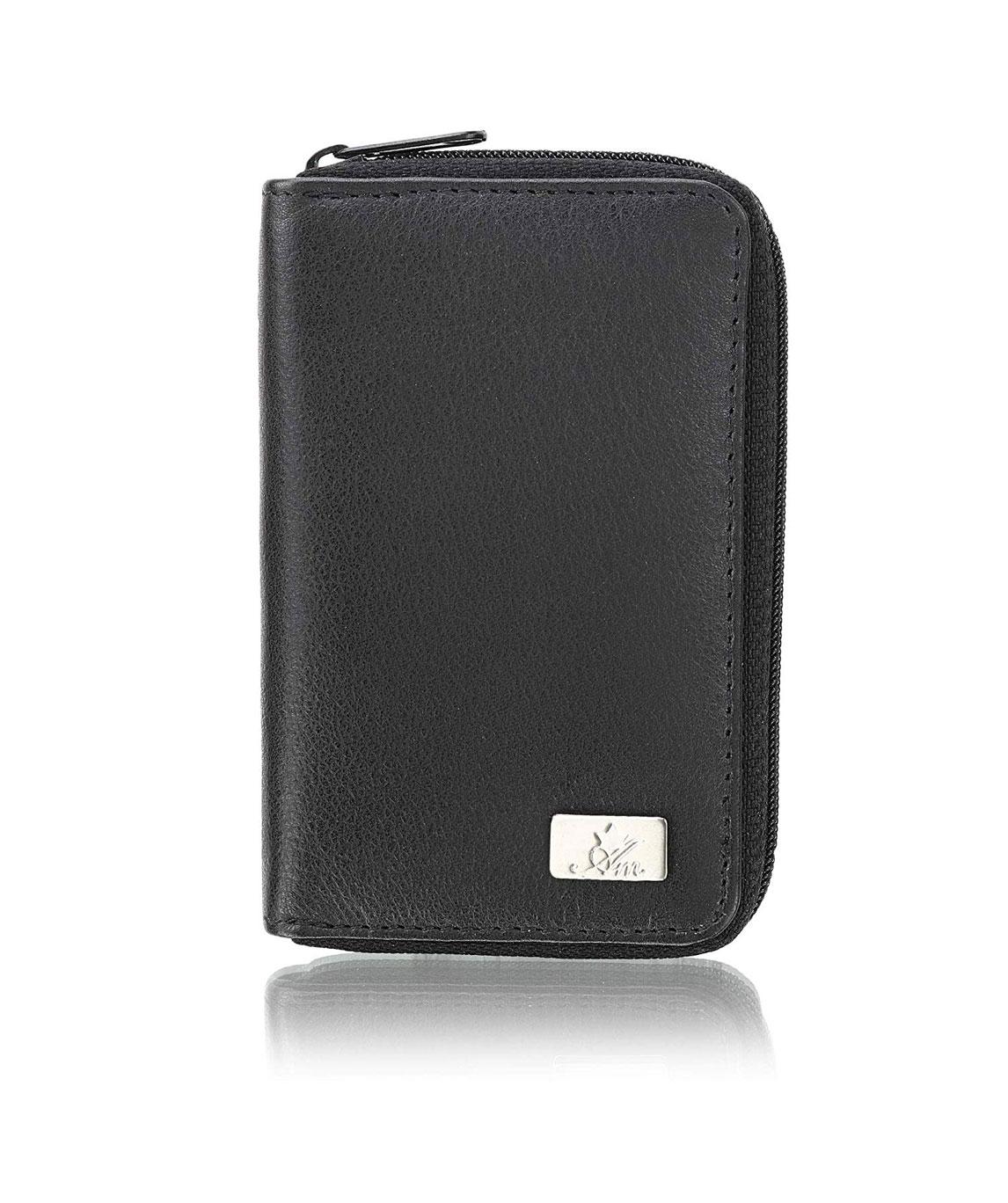 AM Leather Black Business Credit and Debit Card Case Holder (Black)