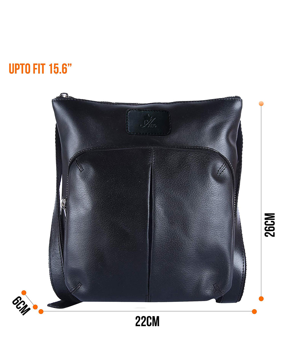 AM LEATHER Black Colour Genuine Leather Unisex Messenger Bag
