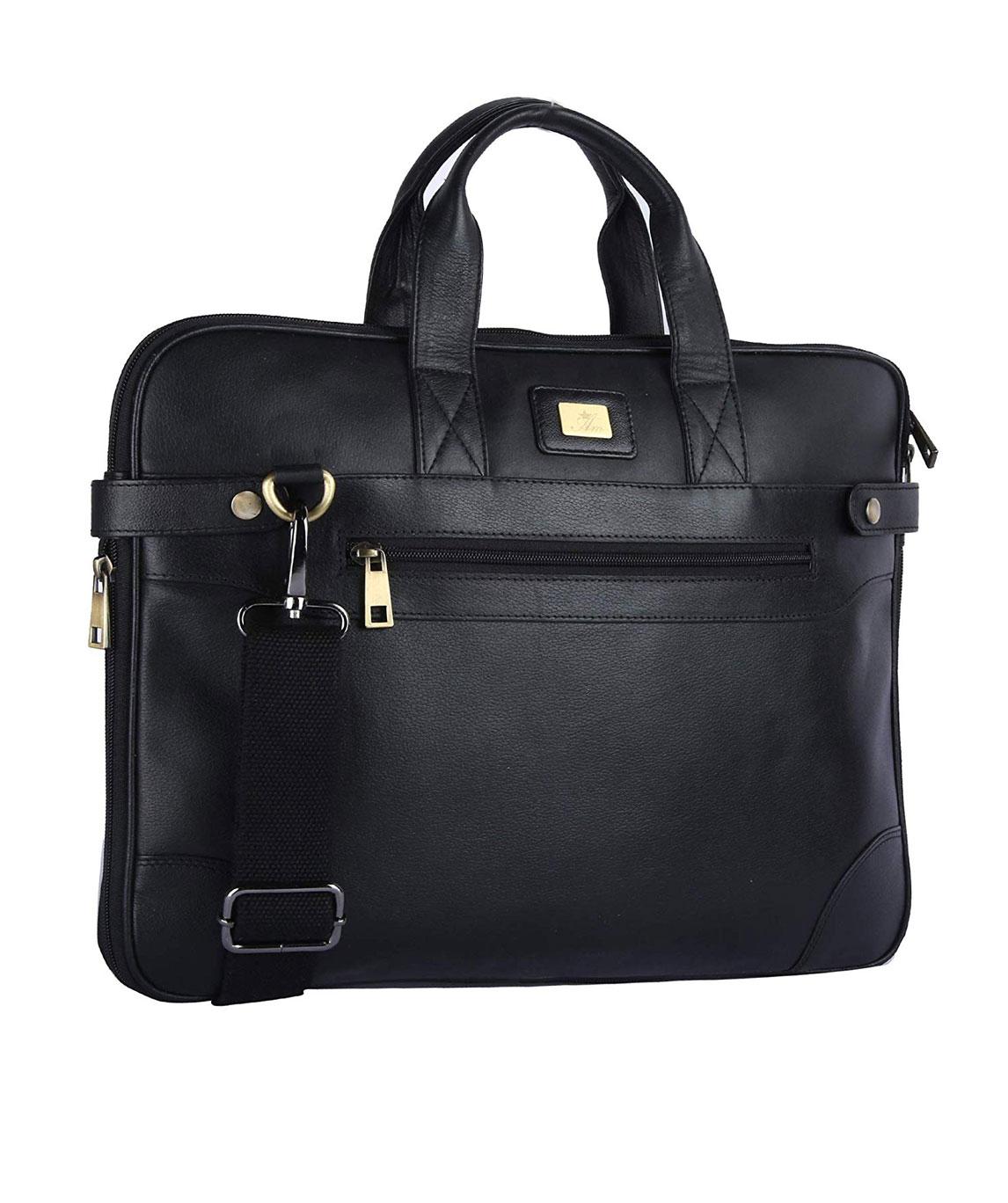AM LEATHER Black Men`s Leather Shoulder Messenger Laptop Bag Business Bag from AM LEATHER
