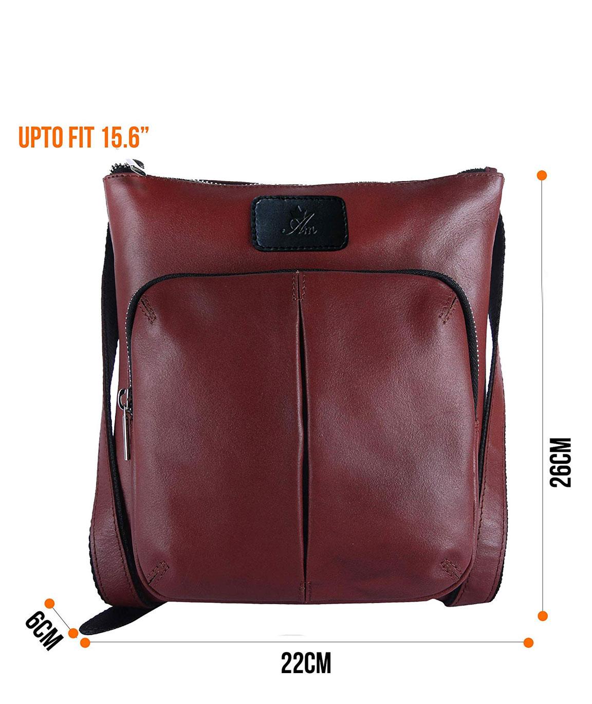 AM LEATHER Brown Colour Genuine Leather Unisex Messenger Bag