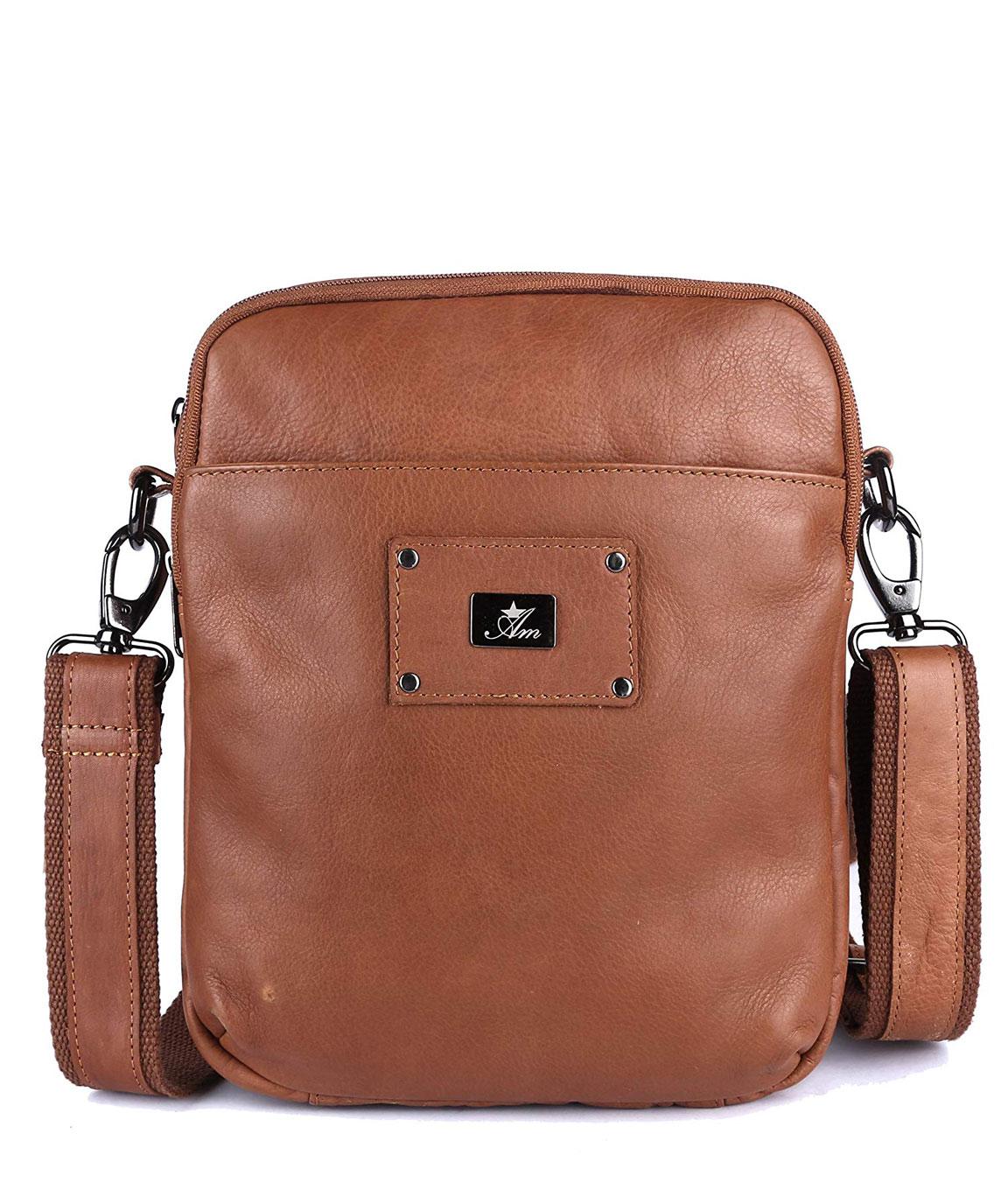 Am Leather Handmade LEEMBRUIN Colour Leather Messenger Bag Shoulder Bag for Men and Women