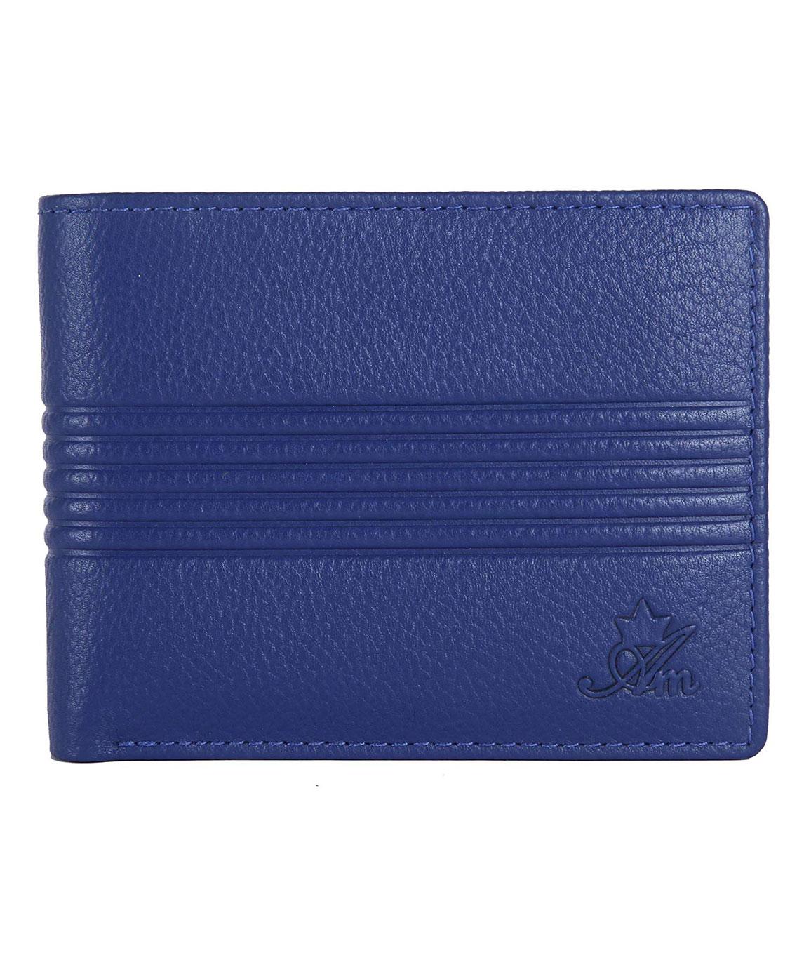 AM LEATHER Leather Bi-Fold Blue Men`s Wallet