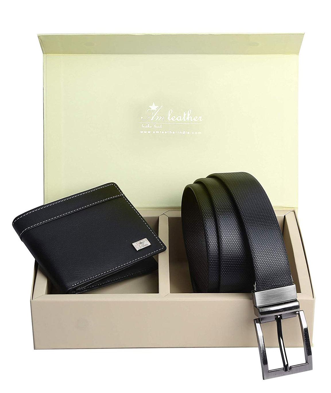 AM LEATHER Marena Style (Wallet + Belt) Combo Corporate Gift (White Thread Blackk)