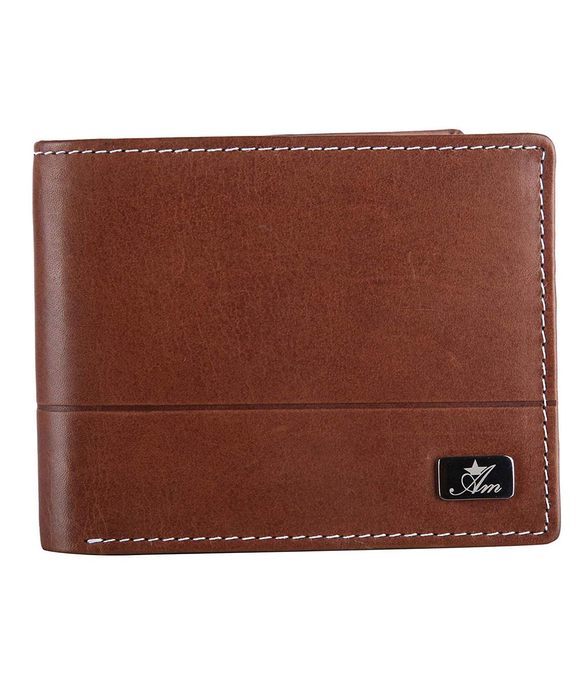 Am Leather Men Crazy Horse Leather Wallet for Men`s - Brown