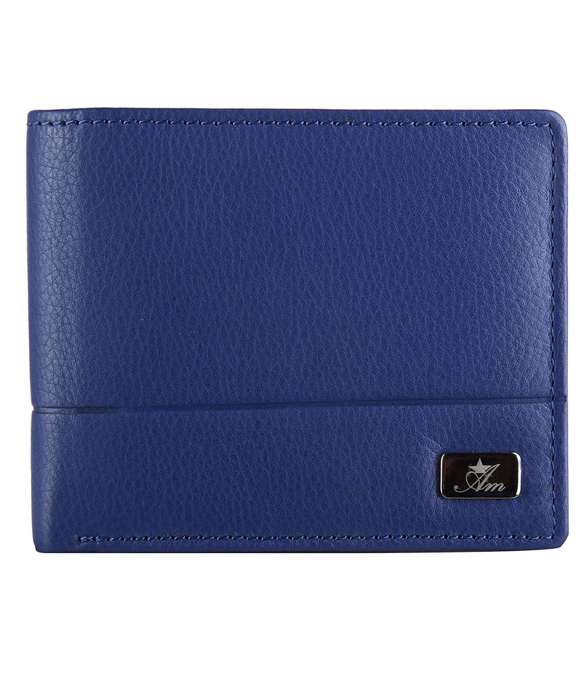 AM LEATHER Men`s Blue Leather Wallet(blue)
