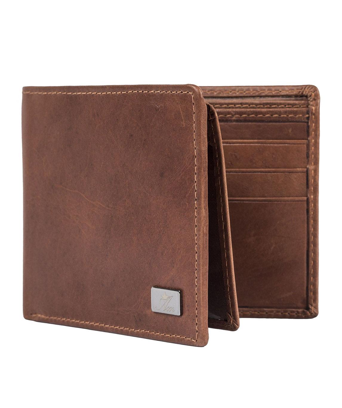 AM LEATHER Men`s RFID Safe Bi Fold Wallet (Brown)