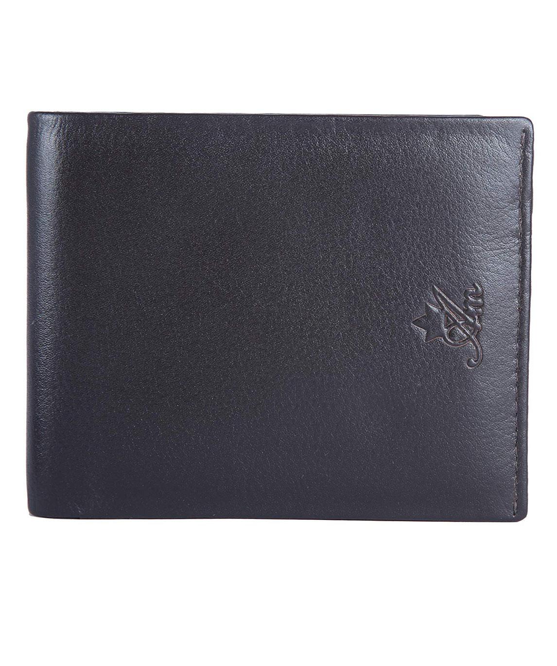 Am Leather Signature Style Italian Premium Leather Men Wallet (Navy Blue)