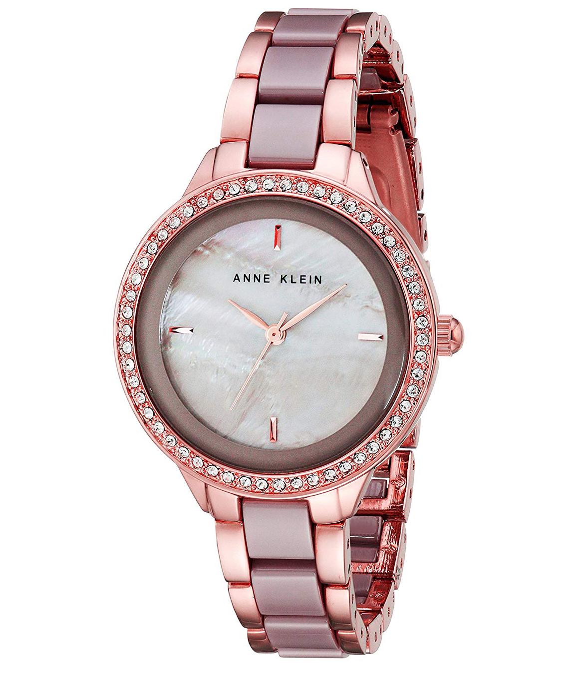 Anne Klein Women`s AK/1418RGTP Swarovski Crystal Accented Rose Gold-Tone and Taupe Ceramic Bracelet Watch